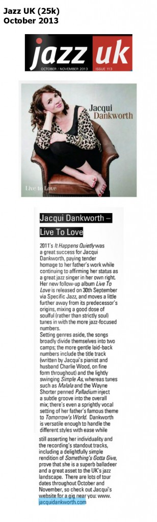 Jacqui Dankworth Live-To-Love, Jazz UK October 2013